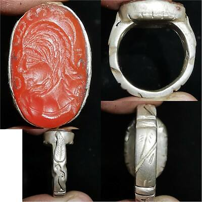 Roman old Emperor Agate stone intaglio Silver Lovely Ring     # 33