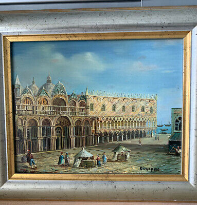 Framed Oil Painting Old European Cityscape Water Boats Background Giuseppe 13X11