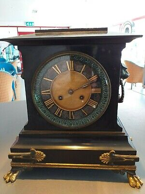 French mantle ANTIQUE mantel clock SLATE Gay Vicarino & Co c.1870 brass movement