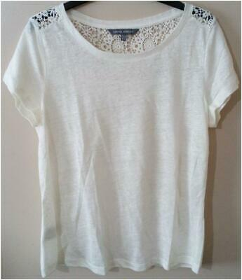 New Womens Laura Ashley White Lace Linen Top Size 12