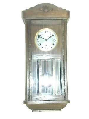 Vintage 8Day Westminster Chime Wall Clock In Oak Wooden Case, Good Working Order