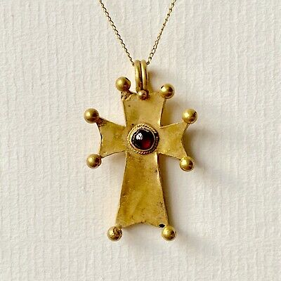 BEAUTIFUL Ancient Byzantine Gold Cross Pendant With Garnet C.10th-12th Century