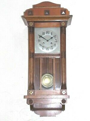 Vintage Arts & Crafts Wooden Case Wall Clock With 8Day Count-Wheel Movement.