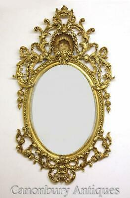 Large Rococo Oval Mirror -French Louis XVI Gilt Frame