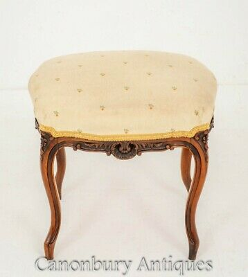 Antique Walnut Stool - French Seat 1880