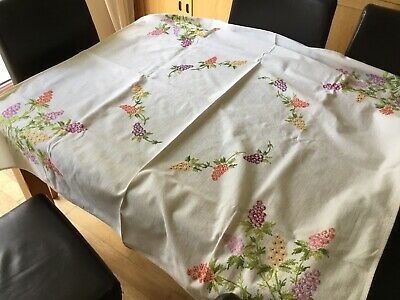 *New* Vintage Hand Embroidered Tablecloth ~ Stunning Flowers Cream Material
