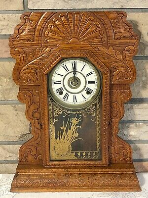 Antique Carved Wood Mantle Clock