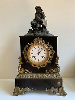 RARE Antique French JAPY FRERES Figural Mantel Clock