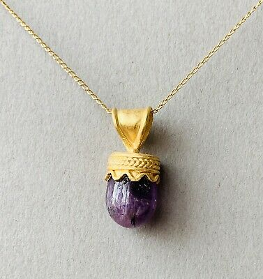 BEAUTIFUL Ancient Greek Gold Amethyst Pendant With Very Fine Decorations