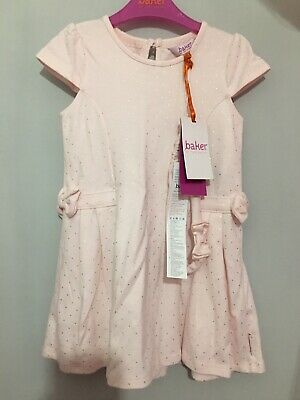 New Girls Designer Ted Baker Pink & Gold Spotted Summer Bow Dress & Band 3-4yrs