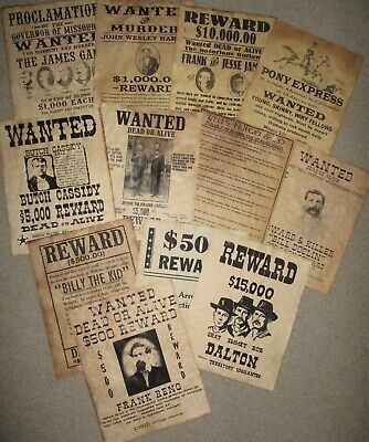 Billy the Kid Pony Express Old West Wanted Posters Wells Fargo Jesse James