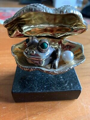Frank Meisler Oyster, Pearl and Frog Sculpture Sterling Silver with Marble Base