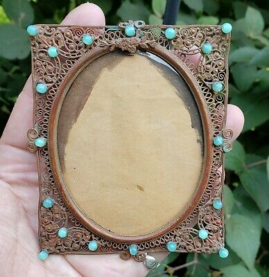 c1880 Beautiful French? Victorian Turquoise Glass Bead Filigree Miniature Frame
