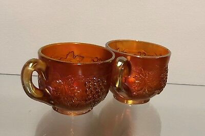 Vintage Carnival Two Glass Fenton Grape and Cable Marigold Cups