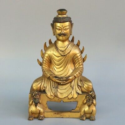 Chinese Exquisite Handmade Buddha beast copper Gilt statue