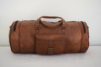 19 In Vintage Leather Duffle Bag Sports Gym Yoga Fitness Travel Luggage Handbag