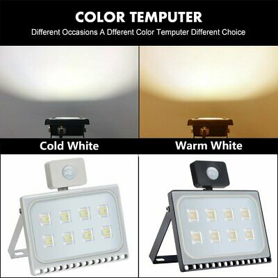 LED Floodlight 10/20/30/50/100W PIR Sensor Garden Lighting Security Flood Light