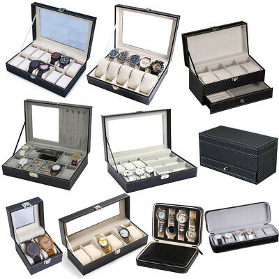 12 Slot Watch Box Display Case Organizer Cushion Glass Jewelry Storage Pillow GI