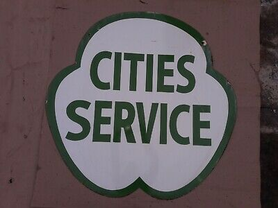 """Porcelain Cities Service enamel Sign size 36"""" Inches Round Double sided"""