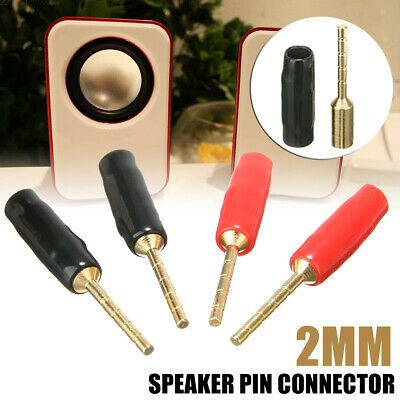 4Pcs 2mm Speaker Cable Pin Connector Banana Plug Screw Terminal Gold Plated
