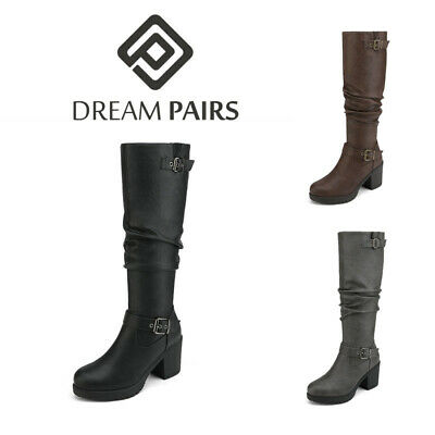 DREAM PAIRS Women's Faux Fur Knee High Low Chunky Heel Zip Winter Riding Boots