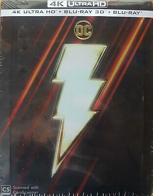 Shazam  Steelbook Blu Ray 4K Ultra Hd + 3D + Blu Ray   Neuf Sous Cellophane