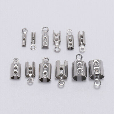 50pcs Stainless Steel Cords Crimp End Beads Caps DIY Bracelet Jewelry Connectors
