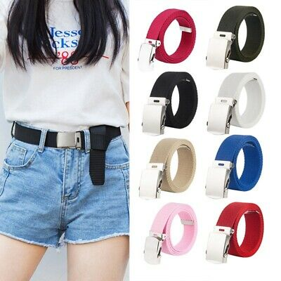 Kids Buckle Canvas Belt Waistband Adjustable Metal Military Buckle Waist Strap