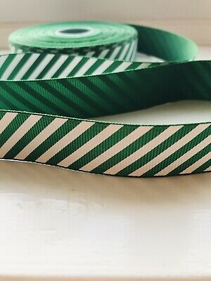 Green & White Stripe Christmas Ribbon Candy Cane 22mm Wide Cake decorating