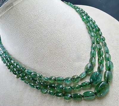 Antique Natural Emerald Beads Nugget 3 Line 243.50 Cts Precious Stone Necklace