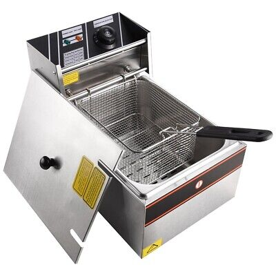 10L Electric Deep Fat Fryer Healthy Food Frying Chip Pan Stainless Steel 6L Oil