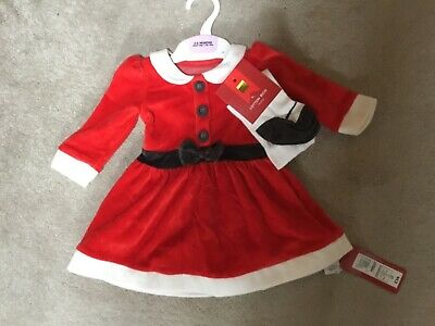 BNWT M&S Baby Girls Santa Dress & Tights Set Christmas Party Outfit Gift 3-6 M