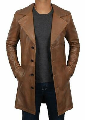 Marksmen- Real Distressed Brown Genuine Leather Trench Long Car Coats for Men