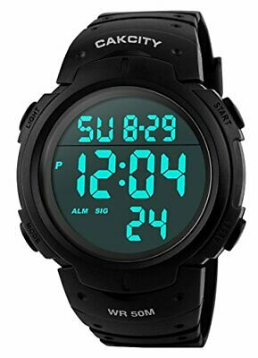 CakCity Men's Digital Sports Watch LED Screen Large Face Military Watches and