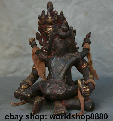 "7.6"" Old Tibetan Red Bronze Yellow Jambhala Wealth God Buddha Yab-Yum Sculpture"