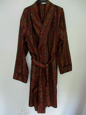 Tootal Regency Brown Mens Vintage Paisley Dressing Gown Smoking Jacket Size Med