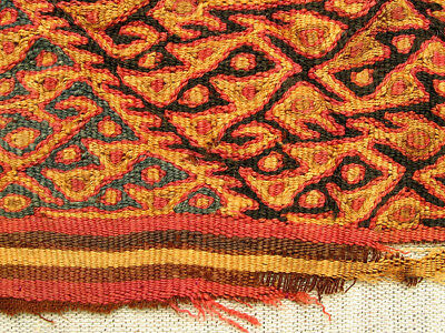 Pre-Columbian Chancay Textile Fragment AD1000-1400 SUPERB museum quality nice