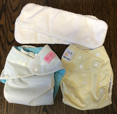 One-Size Pocket Cloth Diaper Lot, Bumwear & Kawaii Baby With Microfiber Inserts