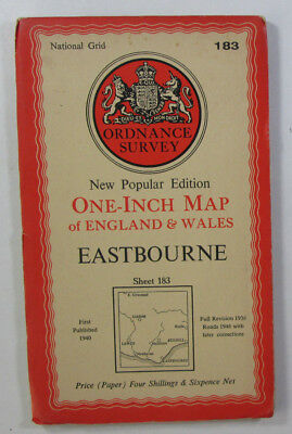 1946 Old OS Ordnance Survey New Popular Edition One-Inch Map 183 Eastbourne