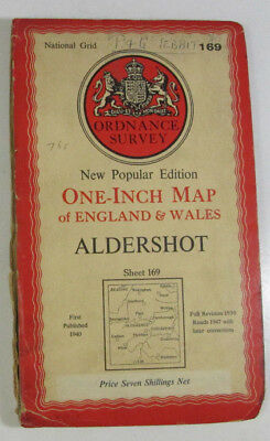 1947 Old OS Ordnance Survey One-Inch New Popular Edition CLOTH Map 169 Aldershot