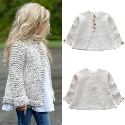 Fashion Toddler Kids Baby Girls Outfit Clothes Button Knitted Warm Sweater  Autu