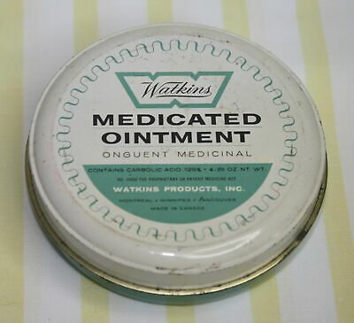 Vintage  Watkins  Medicated Ointment  Tin/Can  Carbolic Acid   4 3/4 Oz. Canada