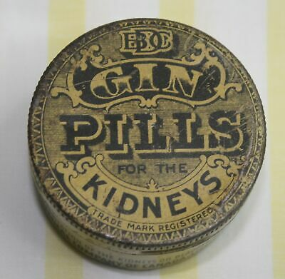 Antique/Vintage Gin Pills - For The Kidneys Tin/Can National Drug & Chemical Co.