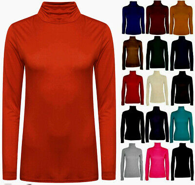 Ladies Womens Polo Neck Roll High Neck Turtle Neck Plain Jumper Top Long Sleeve