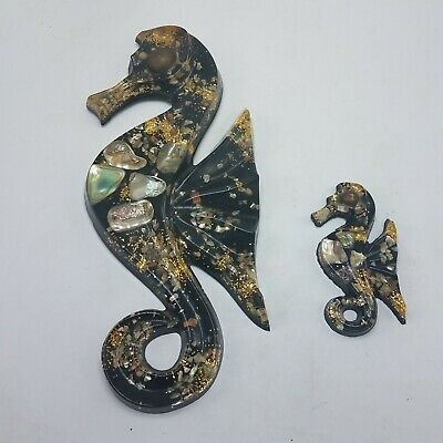 (2) Vintage Bettys Shells Retro Black SEAHORSES Wall Decor Lucite Acrylic Art