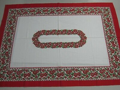 Vintage Christmas Tablecloth Holiday Poinsettia Red White 52 x 69 Fabric Retro