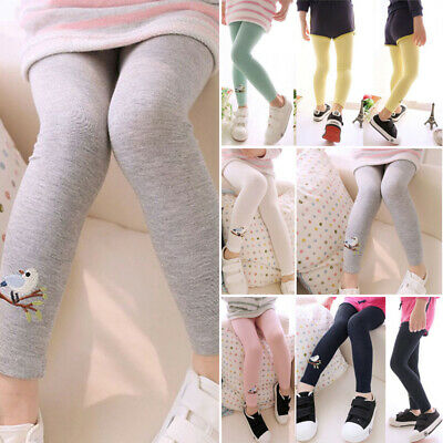 Child Baby Kids Girls Cotton Cute Stretchy Winter Pants Leggings Trousers 1-9Y