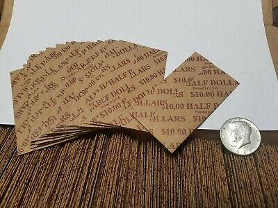 100 Pack, Half Dollar, Pop-Open / Flat Paper Coin Wrappers. Tubes for Halves