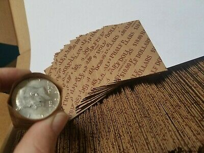 1000 Pack Half Dollar, Pop-Open/ Flat Paper Coin Wrappers. Tubes for Halves