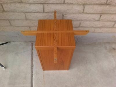 Vtg Mid Century Danish Modern Denmark Solid Teak Cross & Square Base Cofee Table